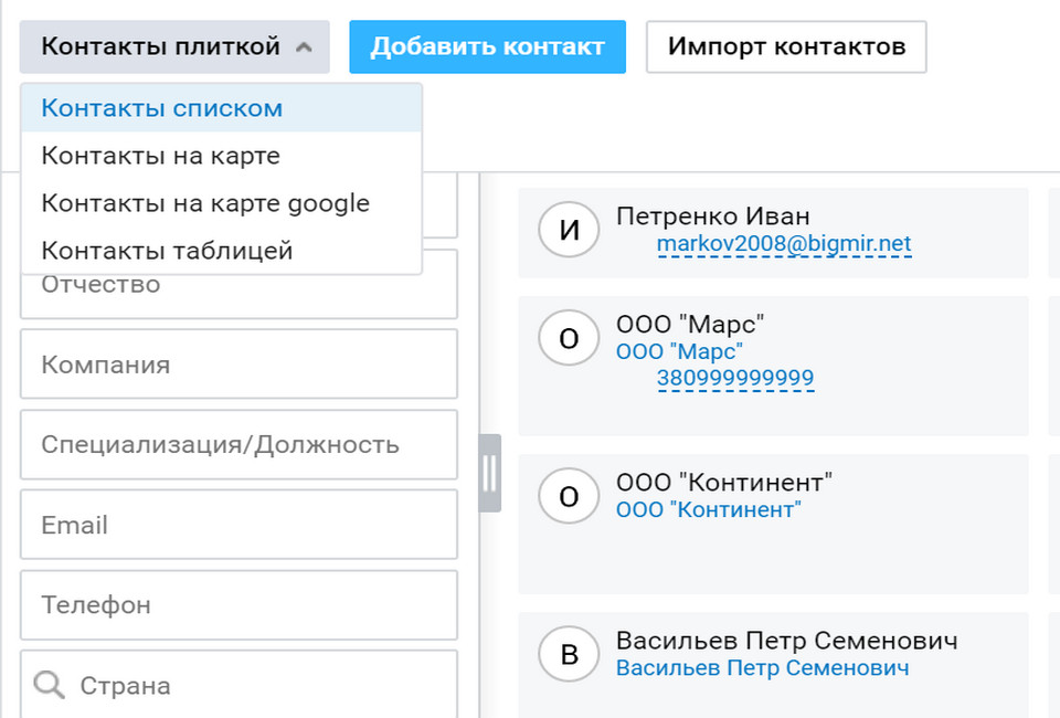 Визуализация данных о контактах