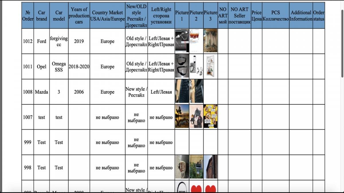 Пример таблицы подбора
